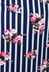 Navy and White Striped Floral