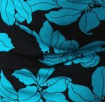 Black and Teal Tropical Floral