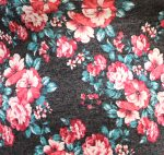 Gray Pink Teal Floral Sweater Knit