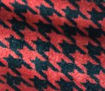 Red and Black Houndstooth Velvet