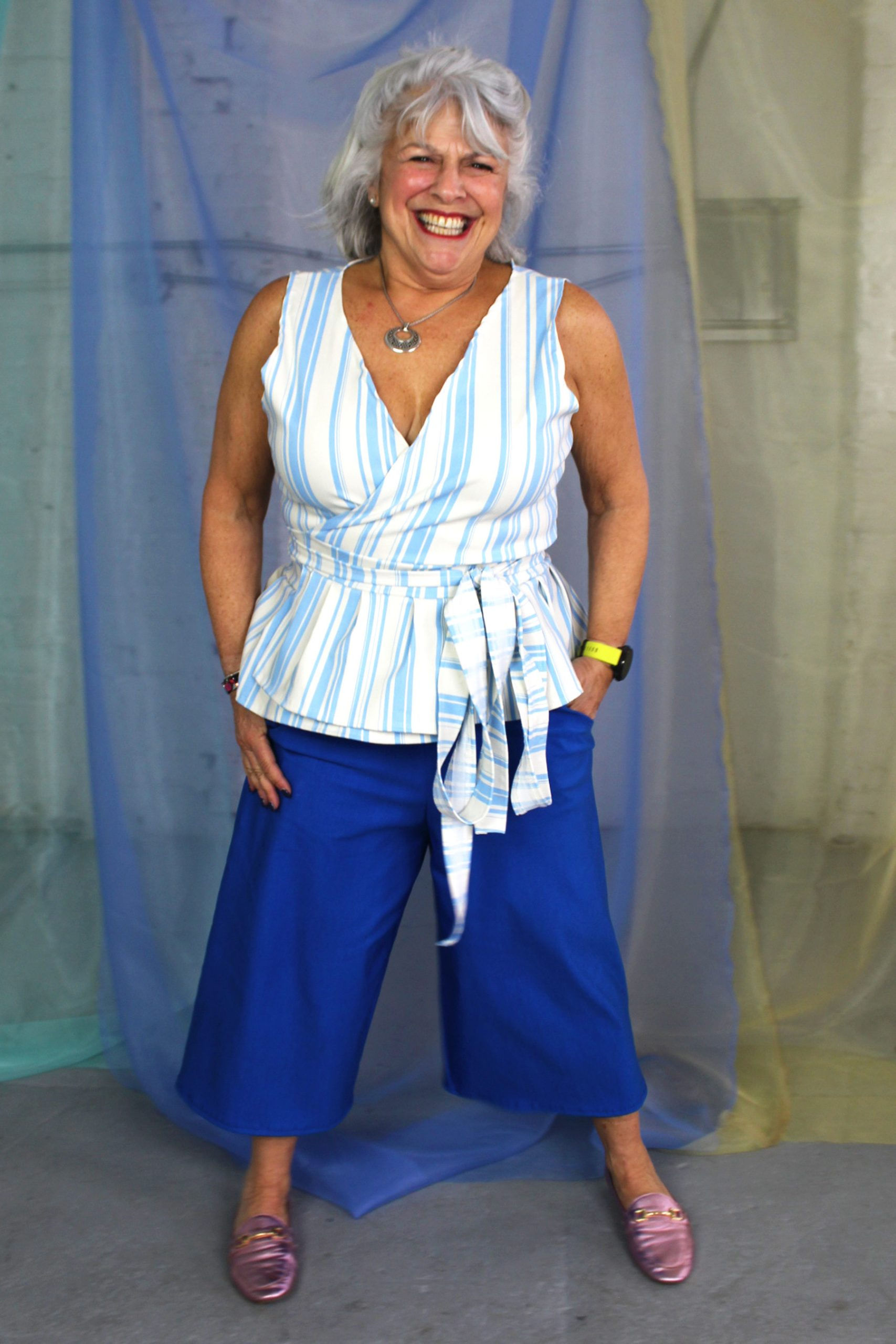 Inbetweenie size white short gray hair mature model in blue capri pants with pockets + white and blue striped cotton wrap top