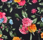Bright Black Floral Challis