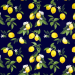 Navy Lemon Cotton Sateen