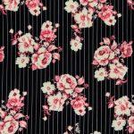 Black Pink Pinstripe Floral