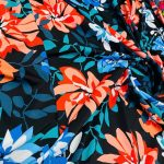 Coral Blue and Black Floral